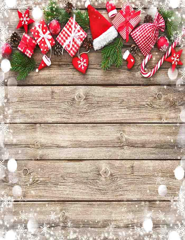 Christmas Hat Cane And Gift On Wood Floor Photography Backdrop J-0173 - Shop Backdrop