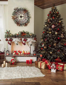 Christmas Holiday Backdrop With Chair Fireplace Wool Carpet - Shop Backdrop