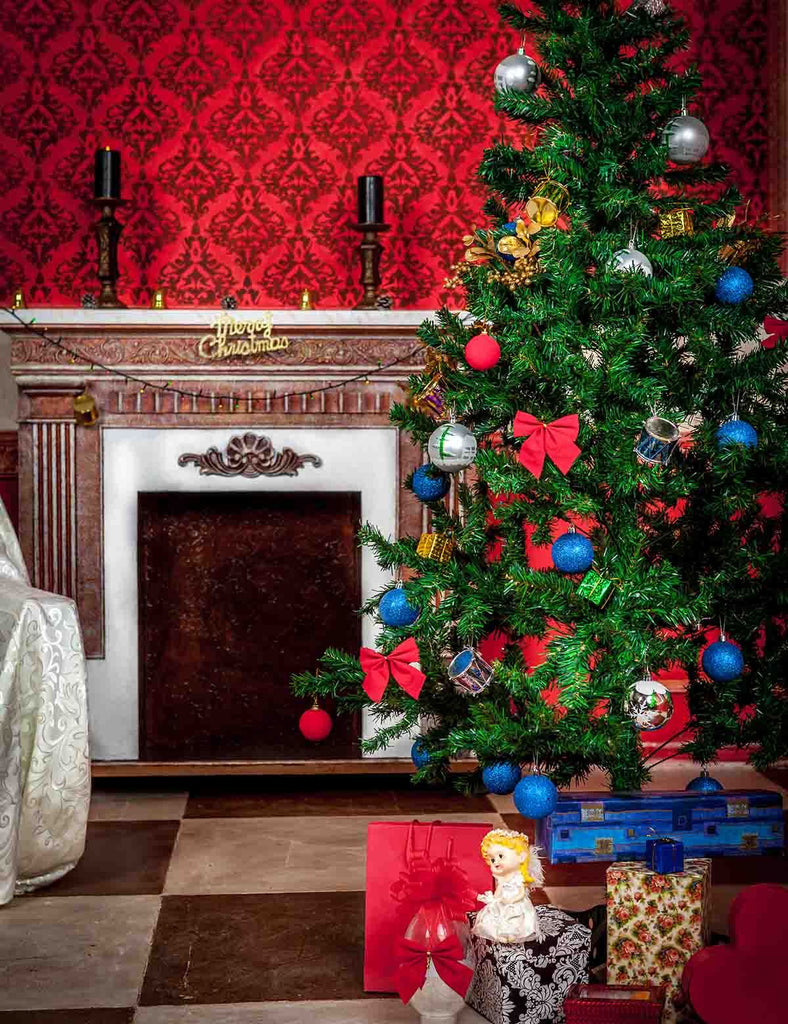 Christmas Holiday Backdrop With Fireplace And Christmas Tree - Shop Backdrop