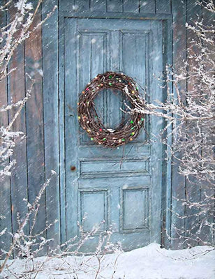 Christmas Holiday With Barn Door And Wreath Photography Backdrop J-0273 - Shop Backdrop