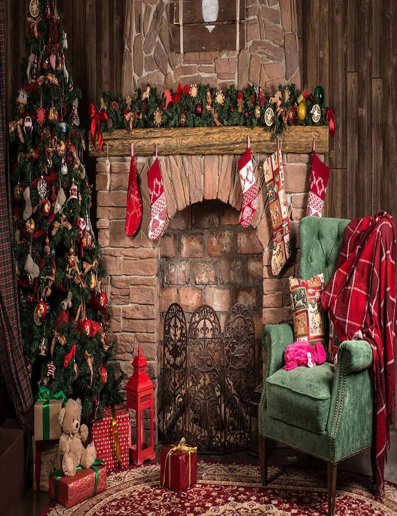 Christmas Interior Decorated With Green Chair Photography Backdrop J-0803