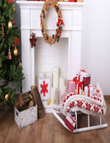 Christmas Sleigh Fireplace With Wreath Photography Backdrop J-0795