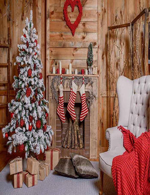 Christmas Socks Hang On Fireplace Christmas In  Wood Room Backdrop For Photography - Shop Backdrop