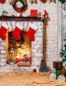 Christmas Socks Hanging On Fireplace With Carpet Photography Backdrop