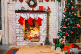 Christmas Socks Hanging On Fireplace With Carpet Photography Backdrop - Shop Backdrop