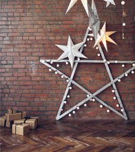 Christmas Star Red Brick Wall With Wood Floor Backdrop For Photography - Shop Backdrop