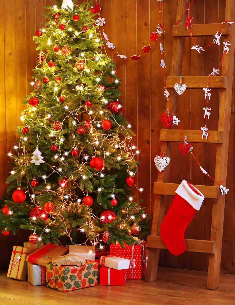 Christmas Stocks Hang On Ladder With Christmas Tree For Holiday Backdrop - Shop Backdrop