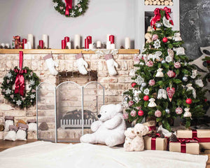 Christmas Tree And Bear On Wood Floor For Children Backdrop - Shop Backdrop