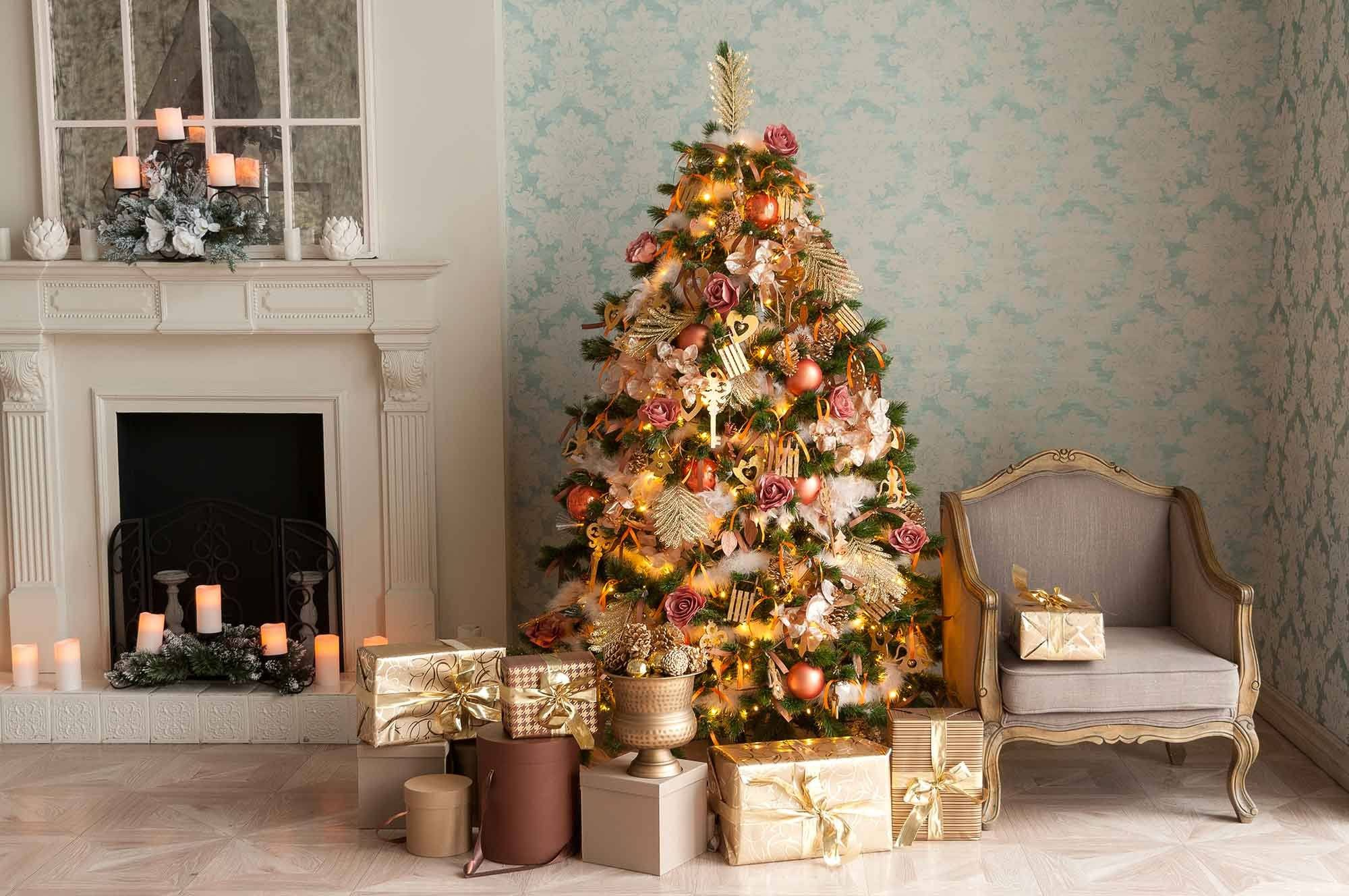 Christmas Tree And Fireplace Background For Christmas Backdrop