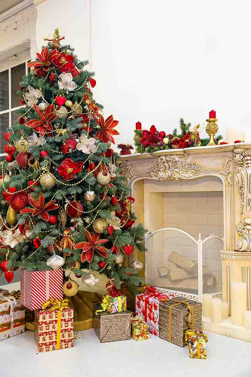 Christmas Tree And Retro Fireplace For Christmas Holiday Photo Backdrop - Shop Backdrop