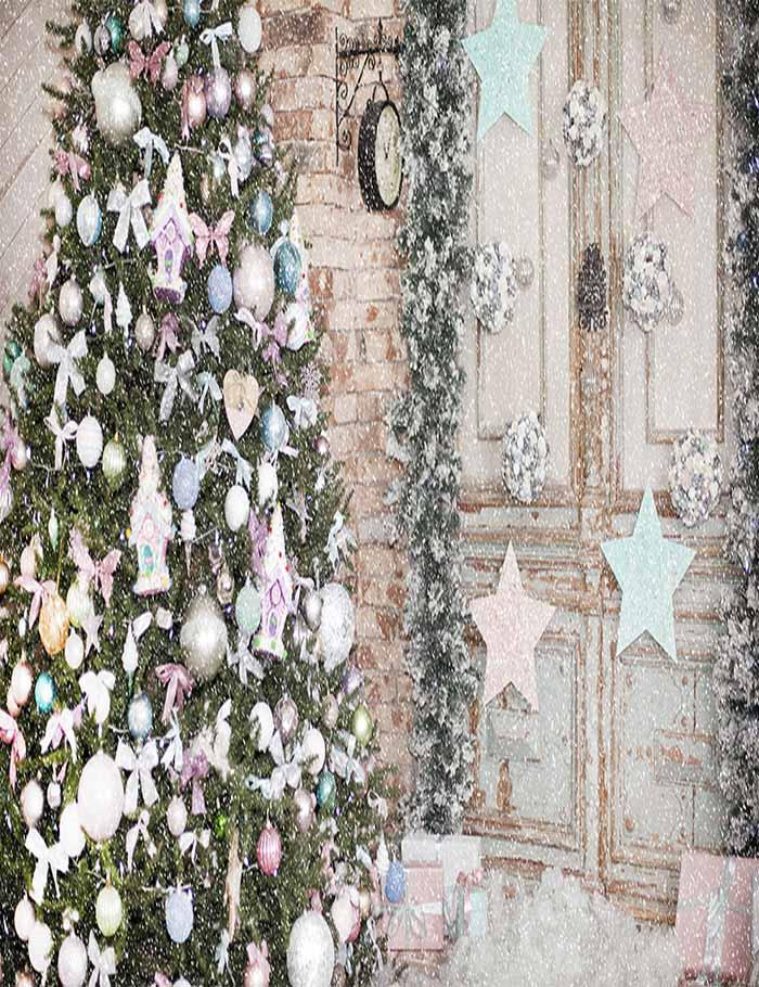 Christmas Tree Befor Decorated Door For Holiday Photography Backdrop N-0063