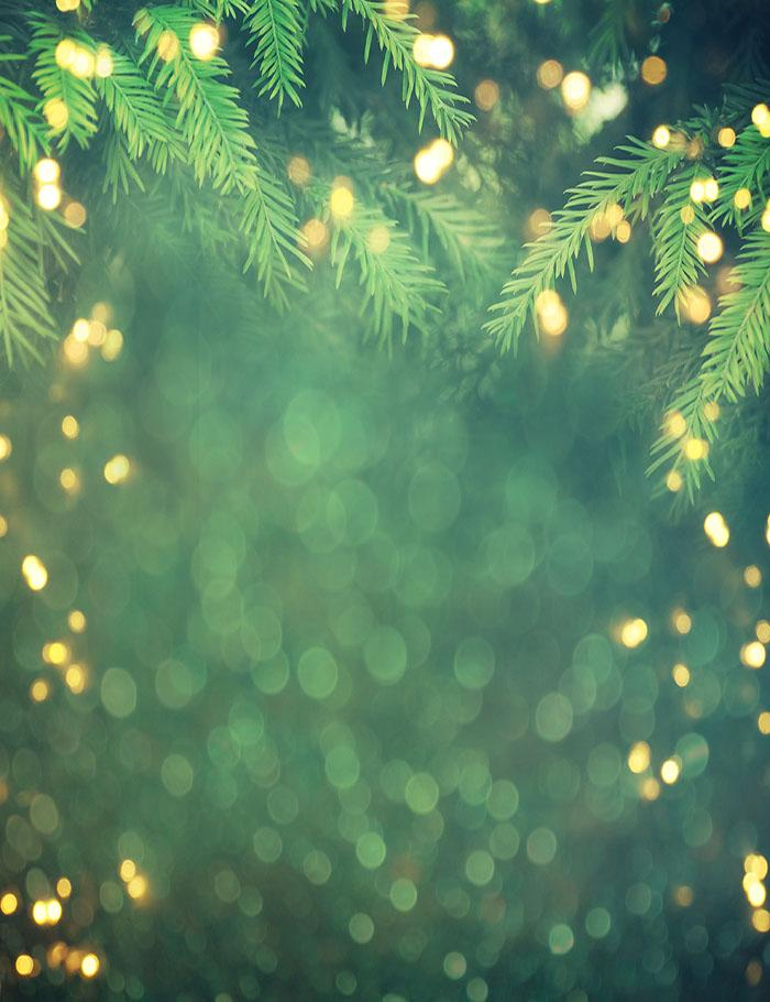 Christmas Tree Branch With Golden Sparkle Photography Backdrop N-0012