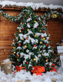 Christmas Tree Covered Snow Outdoor Photography Backdrop J-0660