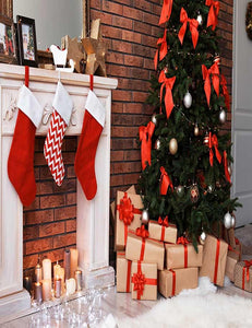 Christmas Tree Fake fireplace In Brick Room Photography Backdrop - Shop Backdrop