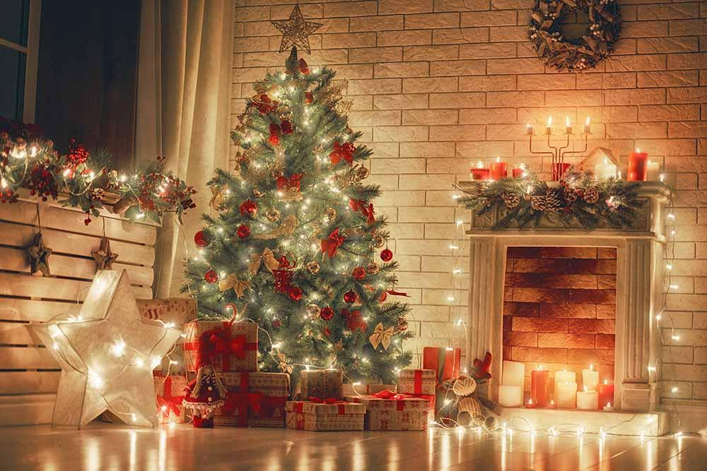 Christmas Tree Fireplace Indoor Fabric Backdrop For