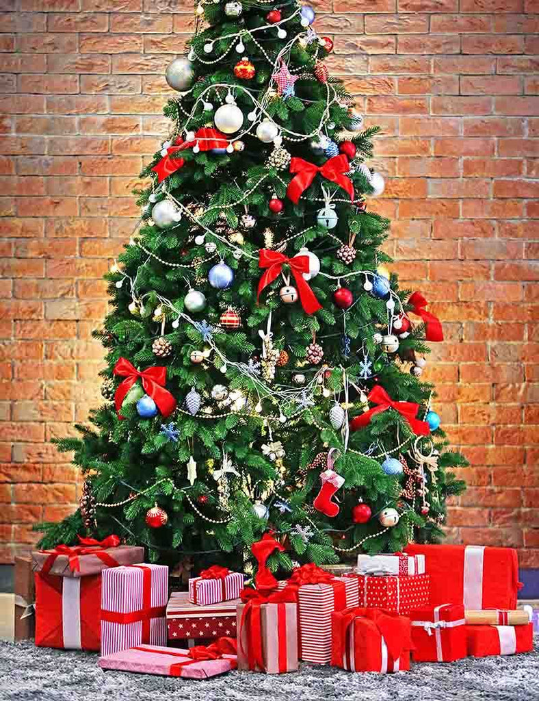 Christmas Tree Full Of Gift Before Red Brick Wall Photography For Holiday Backdrop - Shop Backdrop