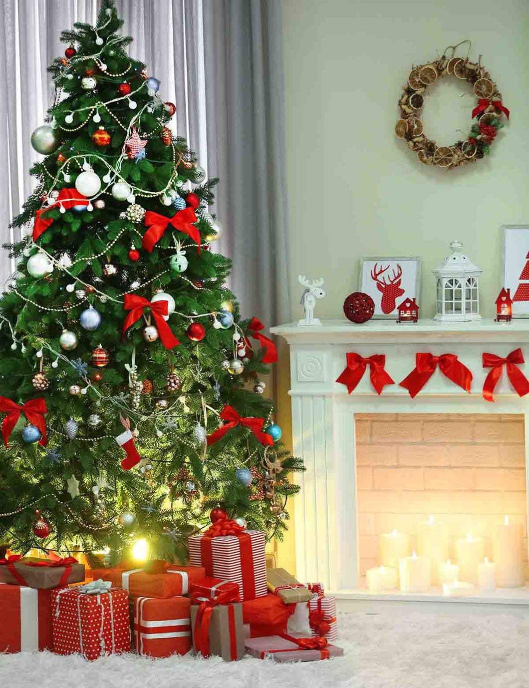 Christmas Tree Full Of Gifts With Wool Carpet Backdrop For Holiday Photo - Shop Backdrop