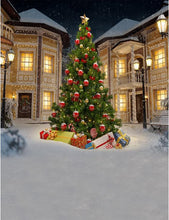 Christmas Tree In Snow Yard Backdrop For Holiday Photography - Shop Backdrop
