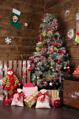 Christmas Tree In Wood Room For Holiday Photography Backdrop - Shop Backdrop
