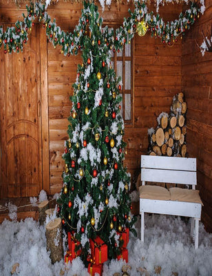 Christmas Tree In Wooden Room Interior With Decoration Snow Photography Backdrop J-0609