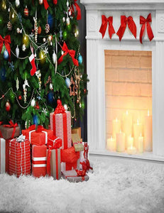 Christmas Tree Indoor With Fireplace And Gifts For Holiday Backdrop - Shop Backdrop