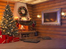 Christmas Tree Inside Senior Wood Room For Holiday Photography Backdrop - Shop Backdrop
