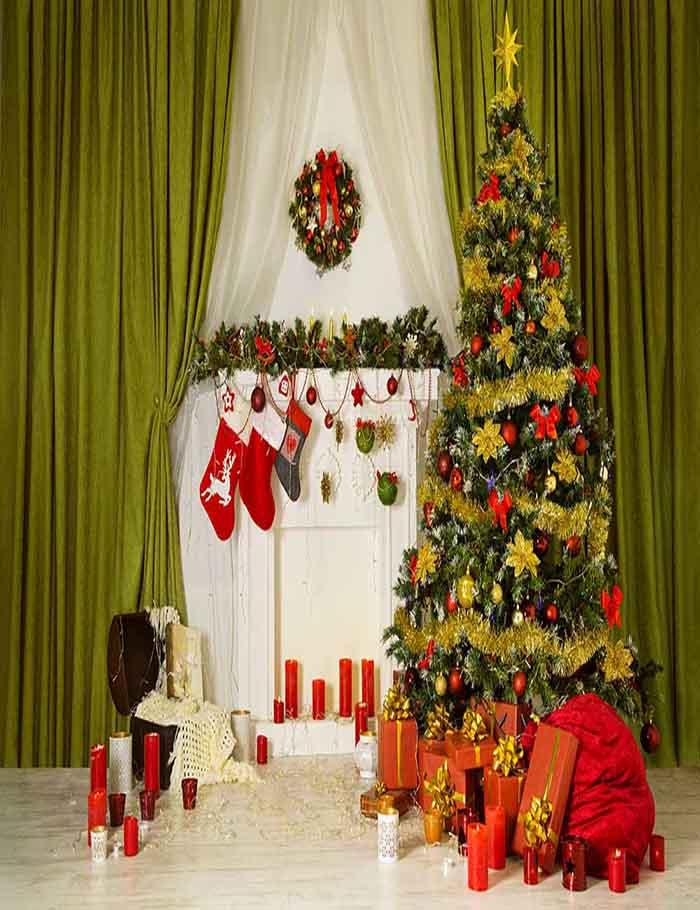 Christmas Tree On White Wood Floor With Some Gifts For Holiday Photo Backdrop - Shop Backdrop
