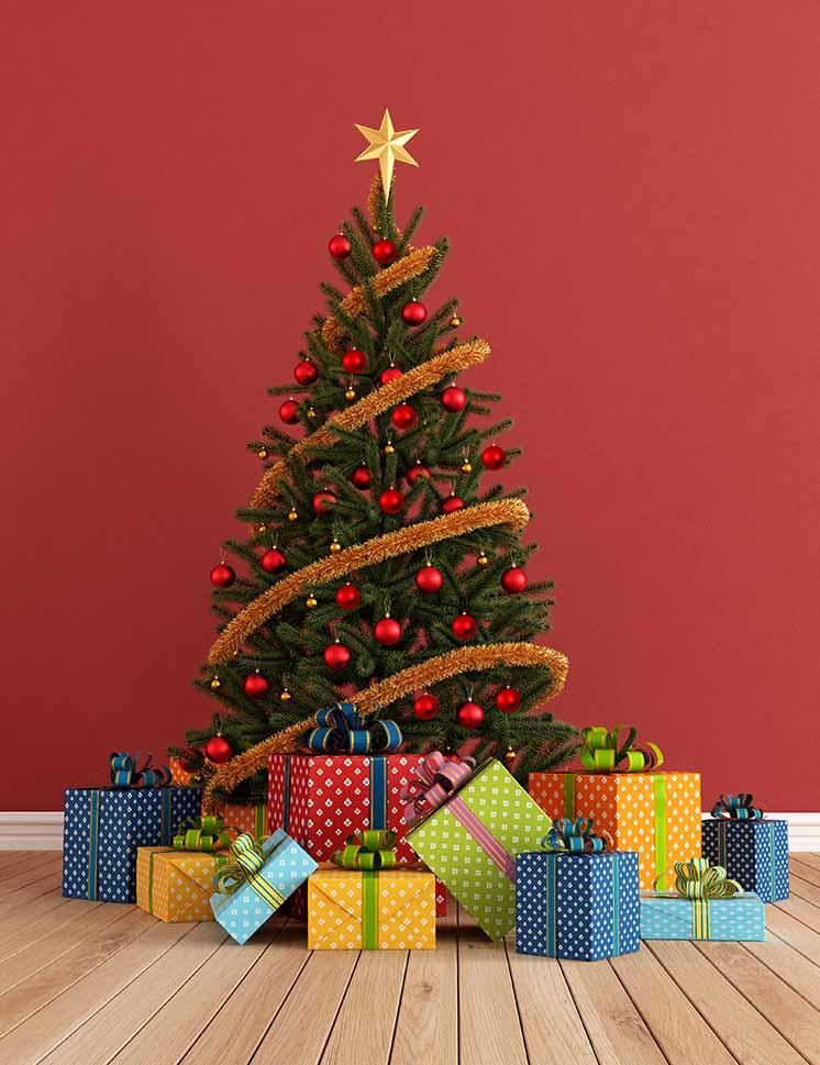 Christmas Tree On Wood Floor  With Red Wall For Photo Backdrop - Shop Backdrop