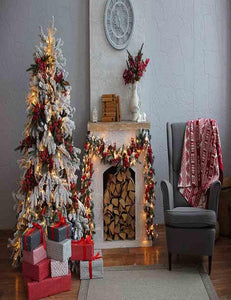Christmas Tree On Wood Floor With Retro Wall Photography Backdrop - Shop Backdrop