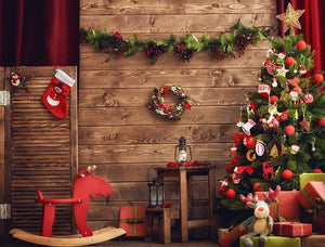 Christmas Tree With Decorated Room Photography Backdrop N-0014
