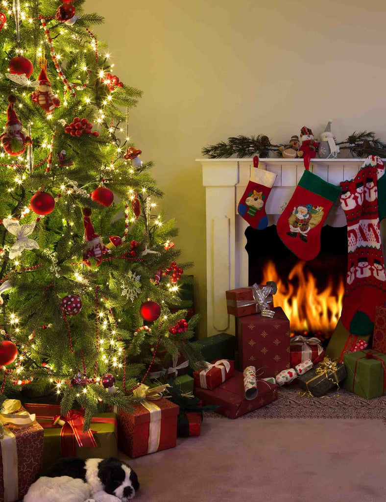 Christmas Tree With Gift And Fireplace For Holiday Photography Backdrop - Shop Backdrop