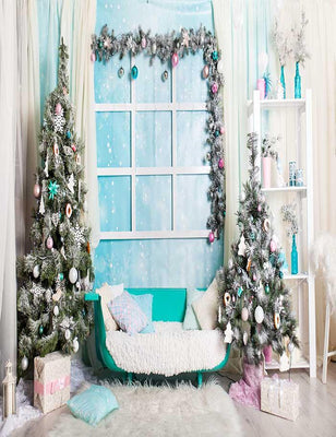 Christmas Tree With Sofa On Wood Floor Photography Backdrop N-0048