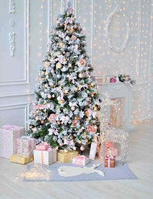Christmas Tree With Some Gifts On Wood Floor Backdrop For Photography - Shop Backdrop
