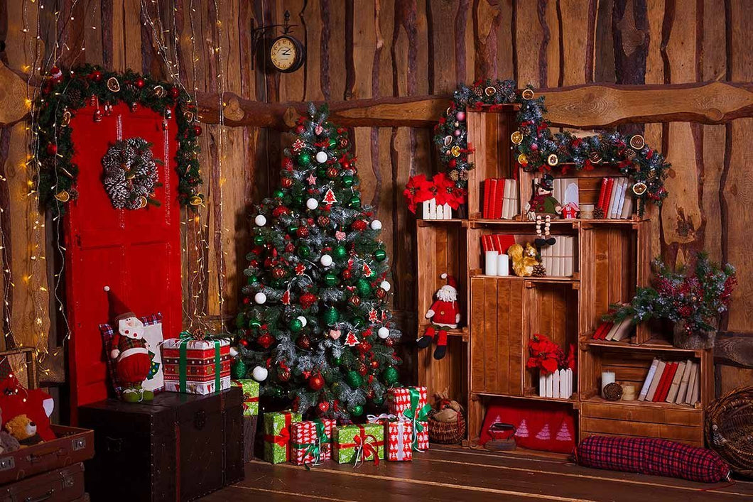 Christmas Wood Room For Children Holiday Photography Backdrop N-0056