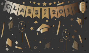 Class Of 2018 Graduation Gold Patterns Backdrop - Shop Backdrop