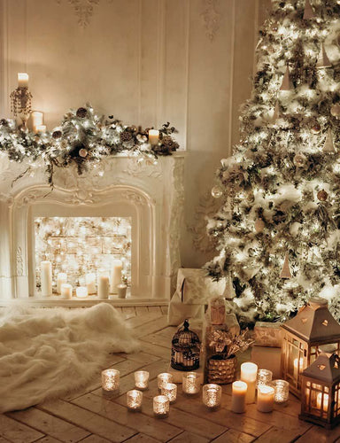 Classical Interior White Room With Decorated Fireplace Christmas Tree Photography Backdrop J-0612