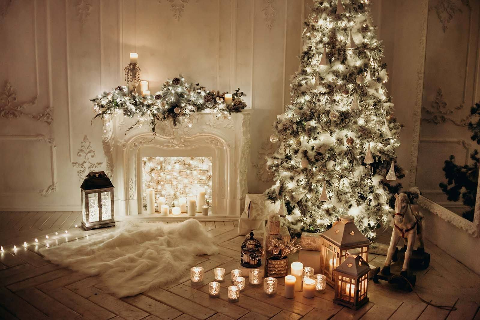 Classical interior white room with decorated fireplace christmas
