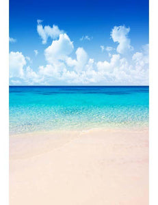 Clouds Sky Blue Sea Water Sandy Beach For Summer Holiday  Photography Backdrop - Shop Backdrop