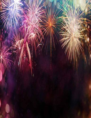 Colorful Fireworks In Black Sky For New Year Photography Backdrop J-0346 - Shop Backdrop