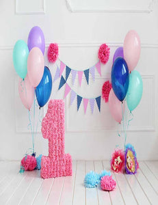 Colorful Balloons And Party Flags For One Years Old Photography Backdrop - Shop Backdrop