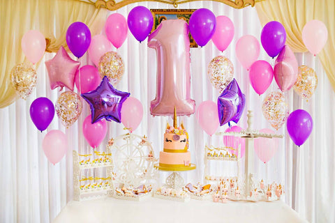 Colorful Balloons And Unicorn Cake For 1th Birthday Backdrop For Photography - Shop Backdrop