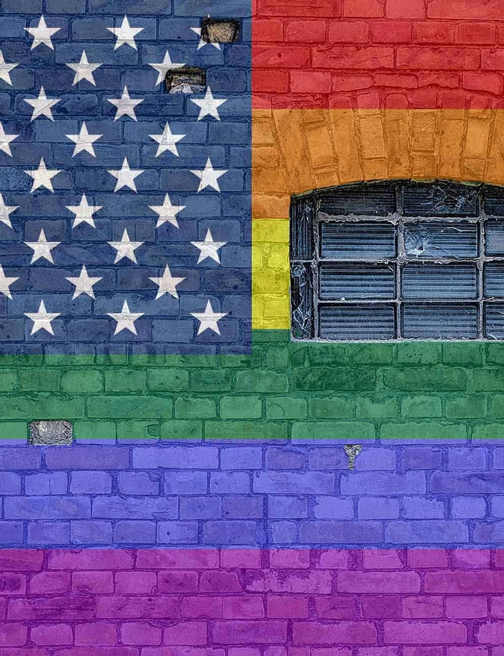 Colorful Brick Wall American Flag Arch Window Texture Backdrop - Shop Backdrop