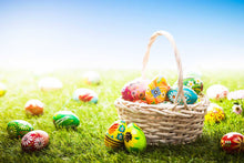 Colorful Easter Eggs On Green Grass In Sunshine Backdrop - Shop Backdrop