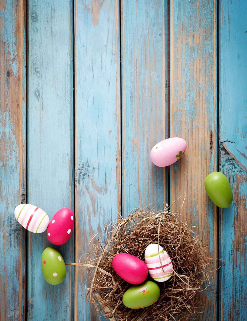 Colorful Easter Eggs On The Blue Wood Floor Backdrop - Shop Backdrop