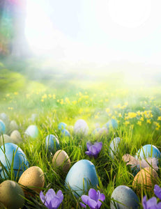 Printed Colorful Easter Eggs On The Grass In The Sunshine Backdrop For Photography