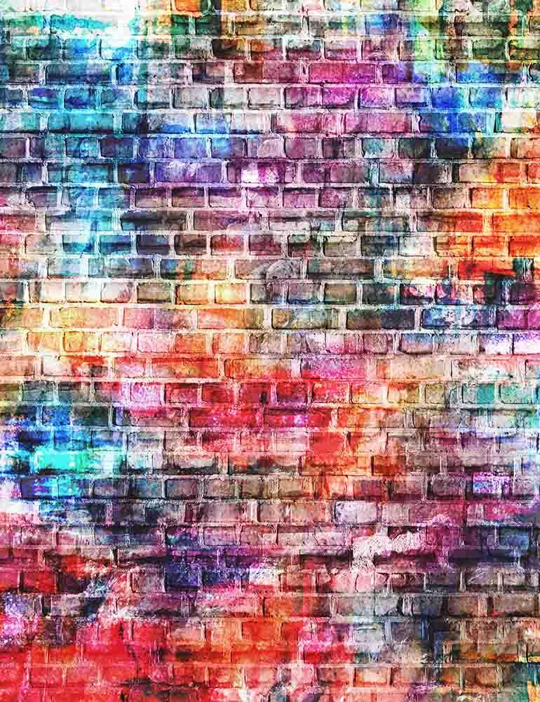 Colorful Painted Brick Wall Texture Photography Backdrop J-0478
