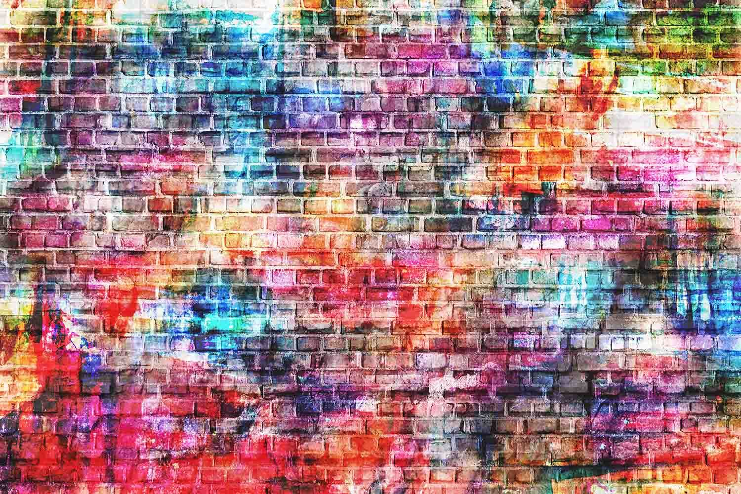 Colorful Painted Brick Wall Texture Photography Backdrop J