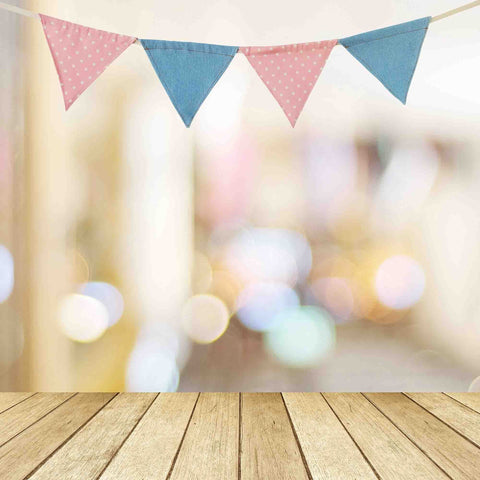 Colorful Party Flags  Bokeh Background With Wood Floor Backdrop - Shop Backdrop