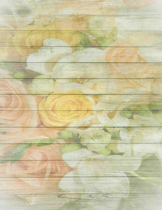 Colorful Roses Printed On Wood Floor Backdrop For Photography - Shop Backdrop