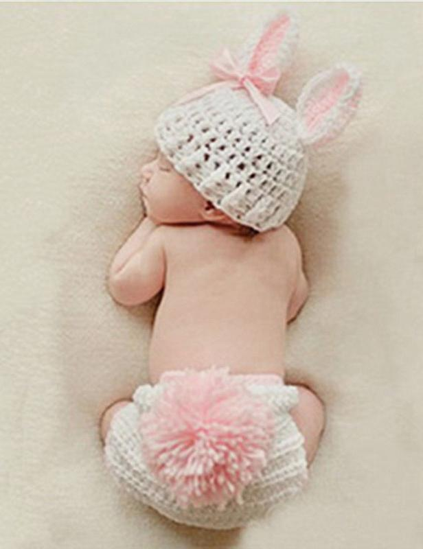Cotton Knitted Rabbit Set Newborn Photography Props(Multi-color Optional) - Shop Backdrop